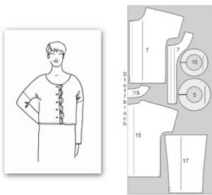 выкройка блузы с рюшей